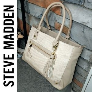 Steve Madden Large Woven Tassle Tote Travel Bag